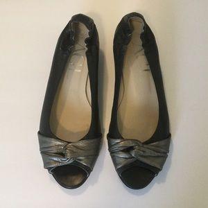 AGL Black Leather Peep Toe Low Wedges